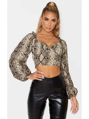 PrettyLittleThing snake woven cup detail long sleeve crop top