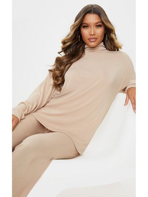 PrettyLittleThing soft cotton roll neck oversized sweater