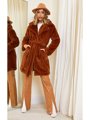 PrettyLittleThing soft faux fur belted midi coat