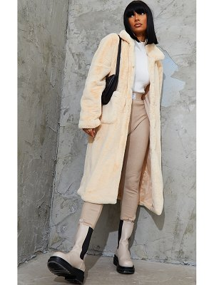 PrettyLittleThing soft faux fur maxi pu belted midi coat