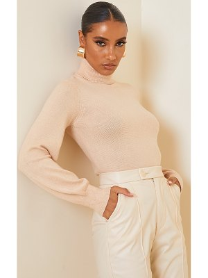 PrettyLittleThing soft knit roll neck balloon sleeve fitted sweater