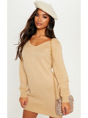 PrettyLittleThing soft knitted off the shoulder mini dress