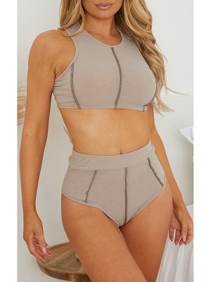 PrettyLittleThing soft rib contrast stitch high waisted panties