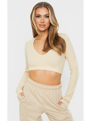 PrettyLittleThing soft rib v neck long sleeve elastic hem crop top
