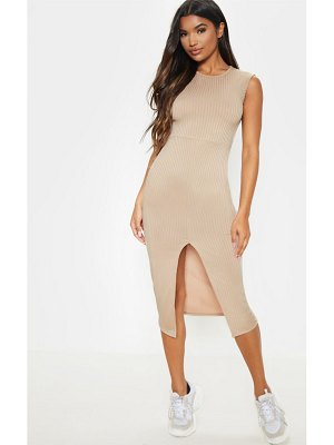PrettyLittleThing split front ribbed midi dress