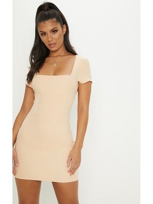 PrettyLittleThing square neck basque detail bodycon dress