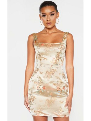 PrettyLittleThing square neck jacquard bodycon dress