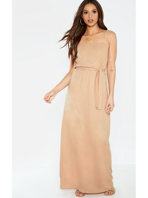 PrettyLittleThing square neck tie waist maxi dress