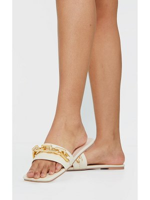 PrettyLittleThing square toe chain detail faux leather mule flat sandal