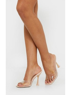 PrettyLittleThing square toe clear mules