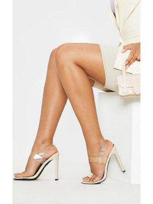 PrettyLittleThing square toe clear twin strap sandal