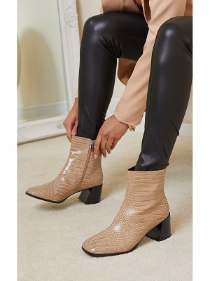 PrettyLittleThing square toe low flare block heels ankle boot