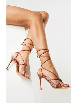 PrettyLittleThing square toe strappy lace up toe thong high heels sandals
