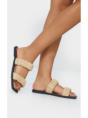 PrettyLittleThing square toe twin ruched strap real leather mule sandal