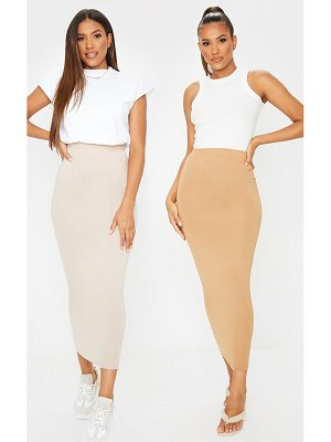 PrettyLittleThing & camel basic jersey midaxi skirt 2 pack