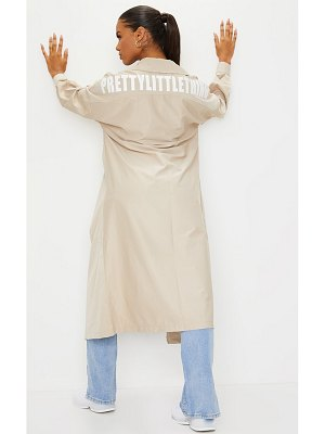 PrettyLittleThing stone contrast panel trench coat