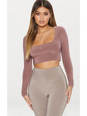 PrettyLittleThing stone second skin square neck long sleeve crop top