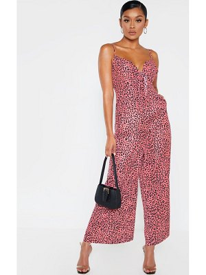 PrettyLittleThing strappy animal print culotte jumpsuit
