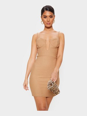 PrettyLittleThing strappy deep square plunge bodycon dress