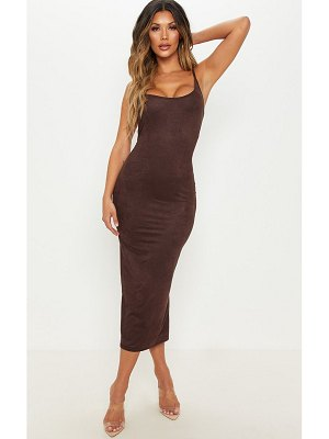 PrettyLittleThing strappy faux suede midi dress