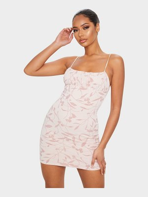 PrettyLittleThing strappy floral flocked detail bodycon dress