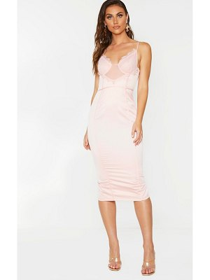 PrettyLittleThing strappy lace insert binding midi dress