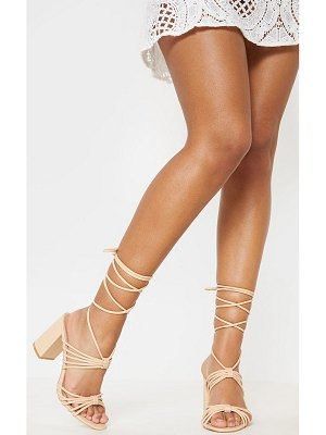 PrettyLittleThing strappy lace up block heel sandal