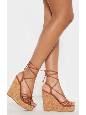 PrettyLittleThing strappy lace up cork wedge