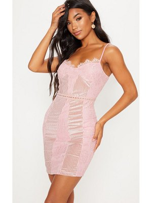 PrettyLittleThing strappy lace velvet insert bodycon dress