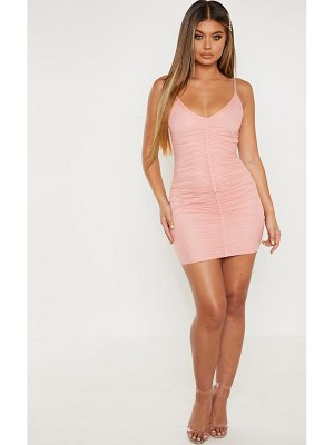 PrettyLittleThing strappy mesh ruched front bodycon dress