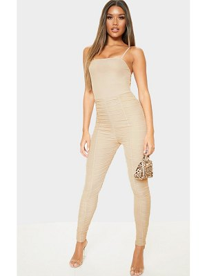 PrettyLittleThing strappy mesh ruched jumpsuit