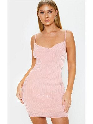 PrettyLittleThing strappy ribbed cowl neck bodycon dress