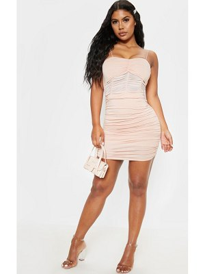 PrettyLittleThing strappy ruched mesh insert bodycon dress