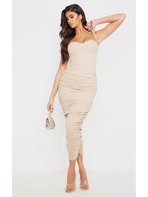 PrettyLittleThing strappy ruched midaxi dress