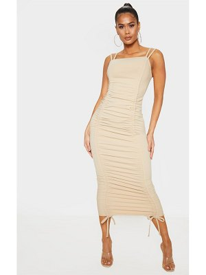 PrettyLittleThing strappy ruched midi dress