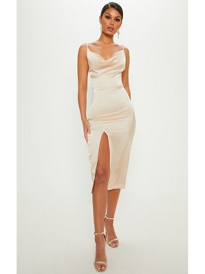 PrettyLittleThing strappy satin cowl midi dress