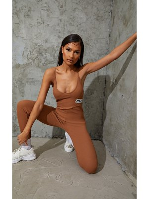 PrettyLittleThing strappy thick rib binding jumpsuit
