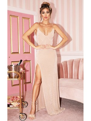 PrettyLittleThing strappy thigh split maxi dress
