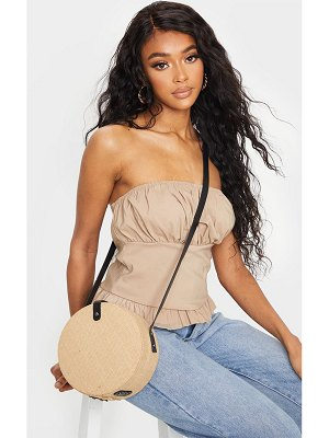 PrettyLittleThing straw round cross body bag