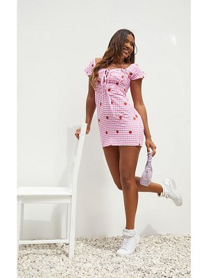 PrettyLittleThing strawberry gingham embroidered  bardot bodycon dress