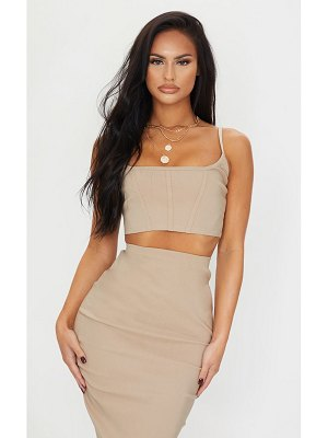 PrettyLittleThing stretch corset binding strappy crop top