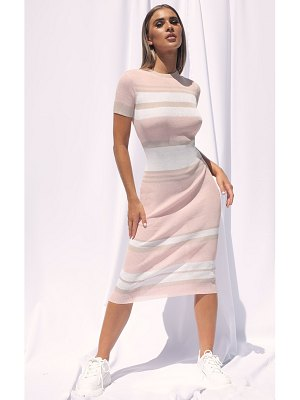 PrettyLittleThing stripe fine knit bodycon midi dress