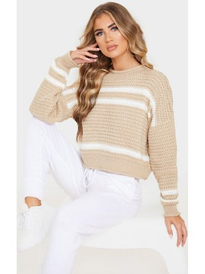 PrettyLittleThing stripe funnel neck textured jumper