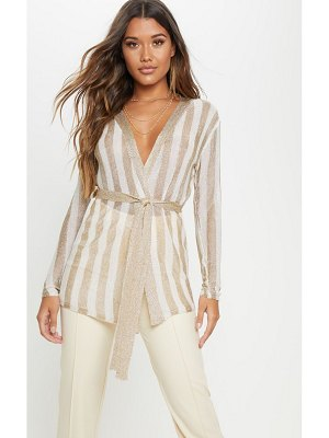 PrettyLittleThing stripe knitted belted jacket