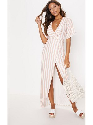PrettyLittleThing stripe print frill detail wrap maxi dress