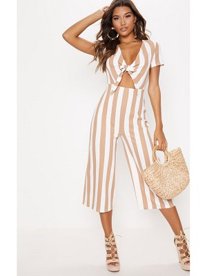 PrettyLittleThing stripe tie front culotte jumpsuit