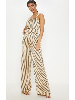 PrettyLittleThing striped belted wide leg jumpsuit