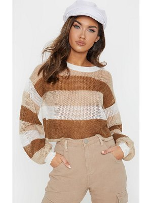 PrettyLittleThing striped cropped laguna sweater