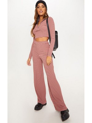 PrettyLittleThing striped knitted wide leg trouser