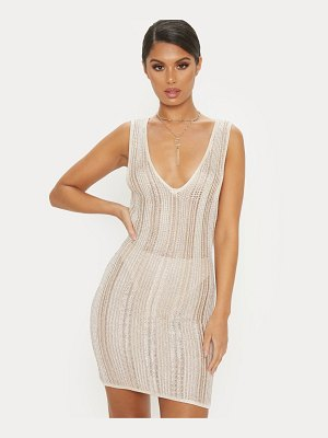 PrettyLittleThing striped metallic knitted dress
